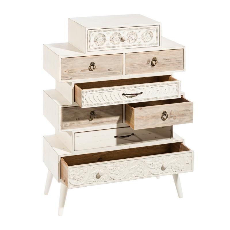Sinfonier blanco de madera de dise o vintage para for Diseno de dormitorio blanco