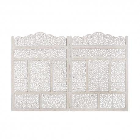 Mural de madera natural cabecero blanco árabe para dormitorio Arabia