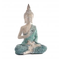 Figura buda de suerte sentado resina turquesa 20 cm