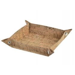 Bandeja vaciabolsillos ecopiel corcho natural 18x18x4 cm