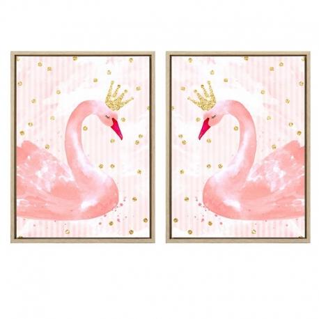 Set 2 cuadro lienzo cisne de purpulina 30x40 cm