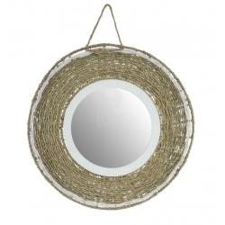 Espejo de pared fibra y madera 50 cm