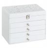 Joyero con 4 cajones blanco de madera moderno para dormitorio Arabia