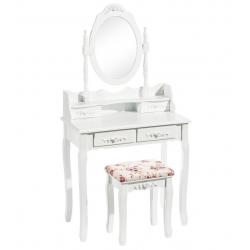 Tocador blanco de madera con espejo romántico para dormitorio France