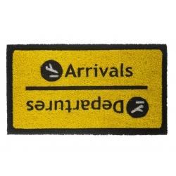 Felpudo diseño Arrivals Departures, color negro con fondo mostaza