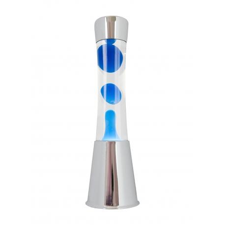 Lampara de Lava Color Cromado 40cm liquido Transparente magma Azul. Metal y Cristal