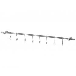 Barra utensilios de acero inoxidable para cocina 8 ganchos