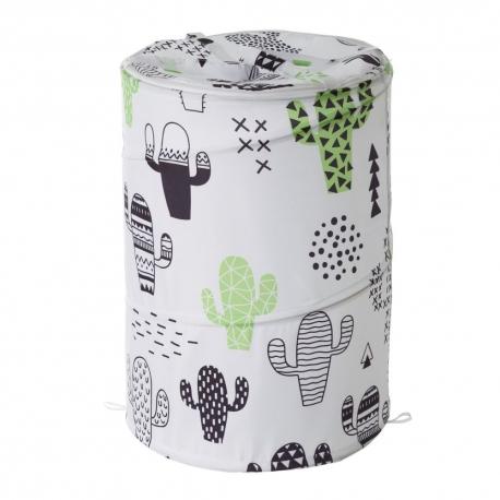 Cesto pongotodo para ropa cactus verde