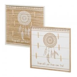 Set 2 Marco de fotos con pinzas de madera blanco étnico para dormitorio Vitta