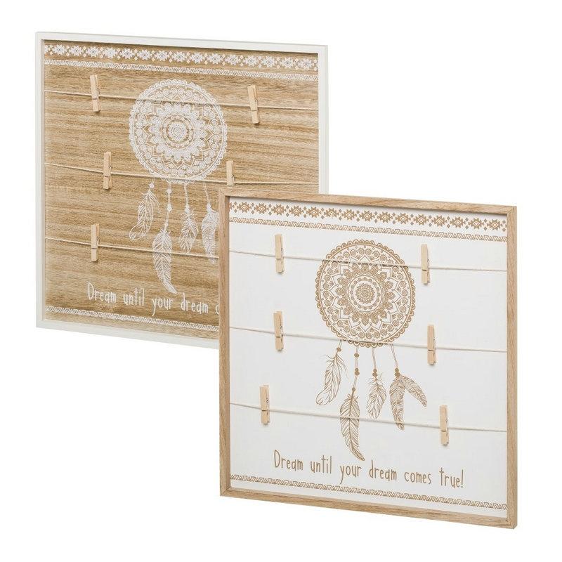 Set 2 Marco de fotos con pinzas de madera blanco étnico para ...