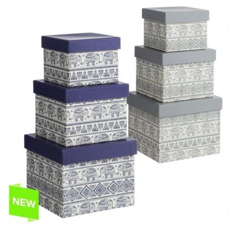 Juego 3 cajas cuadrado diseño etnic 2C