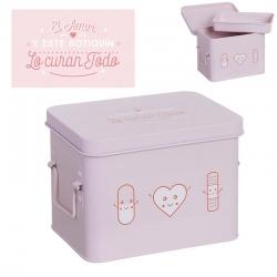 Botiquin metalico romantico color rosa