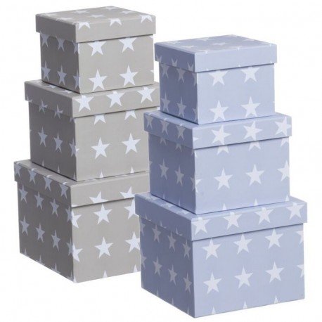 Juego 3 cajas cuadrado diseño moderno estrellas 2C