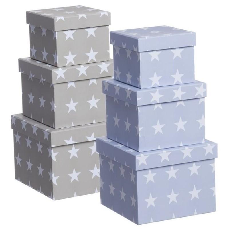 Juego 3 cajas cuadrado dise o moderno estrellas 2c - Cajas de almacenaje decorativas ...