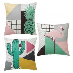 Juego de 3 cojín de diseño cactus y flamencos 40x40