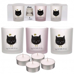 Pack de 3 candeles con 4 velas de te gatos