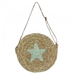 Bolso capazo de palma estrella redondo estrella verde