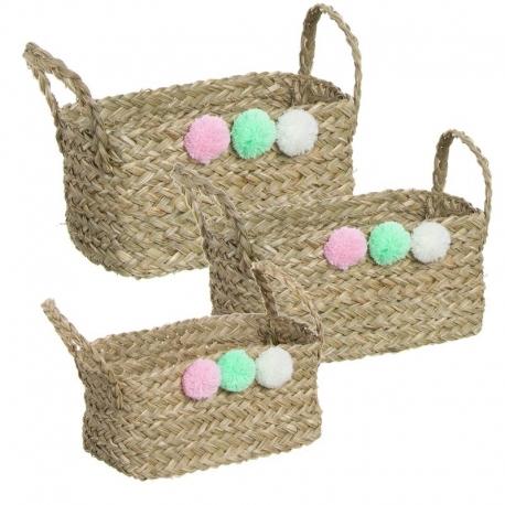 Juego de 3 cestas con pompones de color