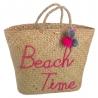 Capazo de rafia natural para playa rosa vintage France