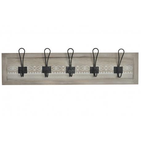 Perchero pared de 5 colgador madera metal cenefa