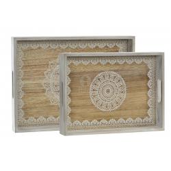 Set de 2 bandeja madera mandala natural