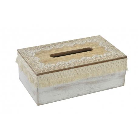 Caja pañuelos de madera natrual cenefa