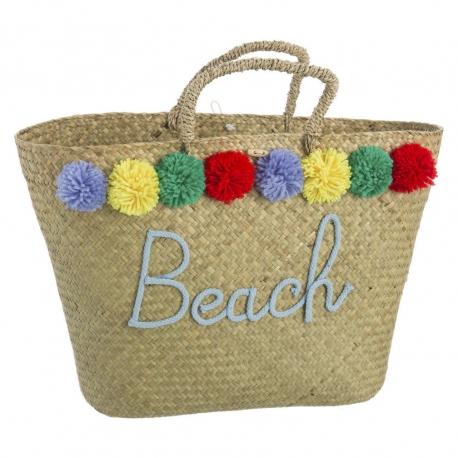 Capazo de rafia natural para playa bombones iris