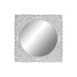 Mural de espejo tallada blanco redondo 55x55 cm