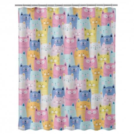 Cortina de baño moderno gatos 180x200 cm