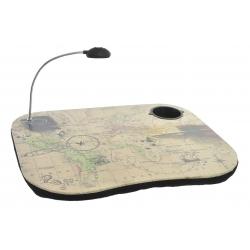 Bandeja para portatil con luz de led decorada mapa de mundo