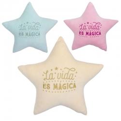 Juego de 3 cojines relax extrasuave estrellas con letras bordada