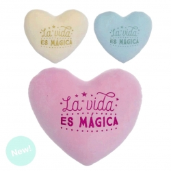 Juego de 3 cojines relax extrasuave corazon con letras bordada