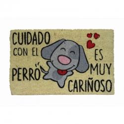 Felpudo Cuidado con El Perro Cariñoso, Coco, 60x40