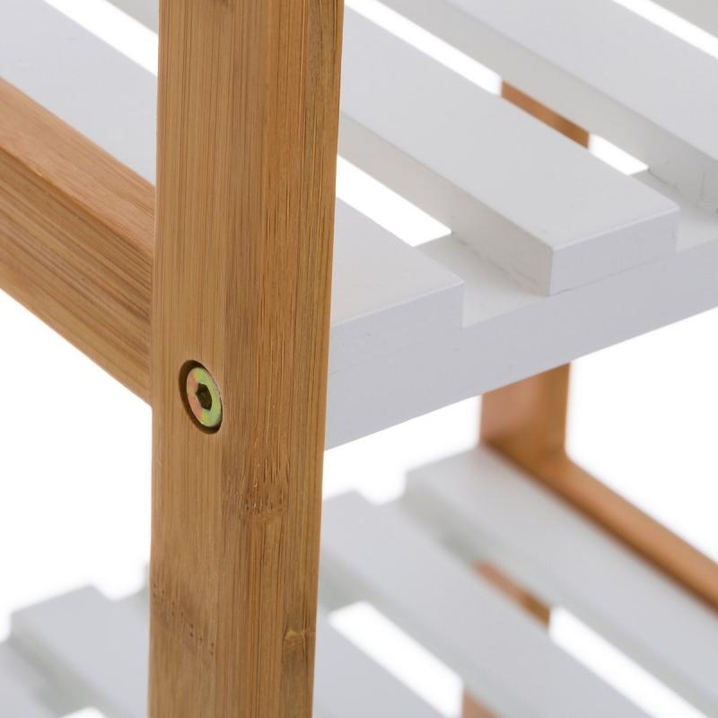 Estantería blanca de bambú con 3 baldas nórdica para cuarto de baño ...