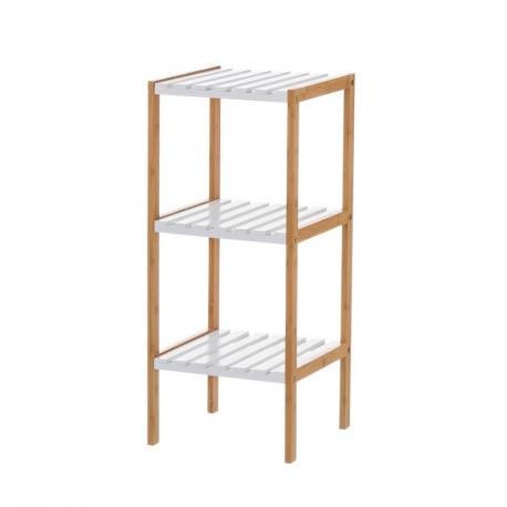 Estantería blanca de bambú con 3 baldas nórdica para cuarto de baño Basic
