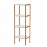 Estantería blanca de bambú con 4 baldas nórdica para cuarto de baño Basic