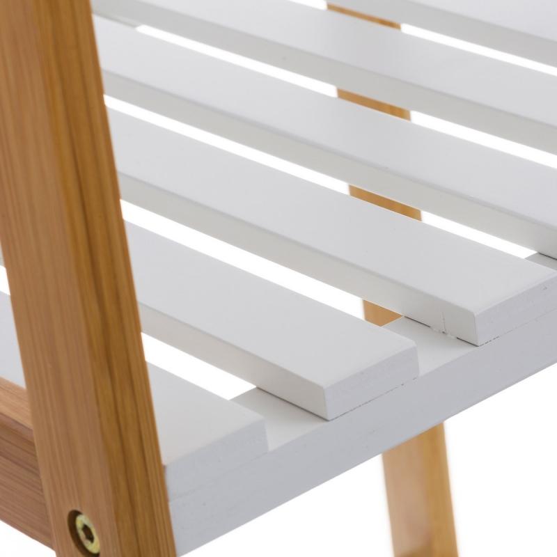 Estanter a blanca de bamb con 5 baldas n rdica para for Estanteria bano blanca