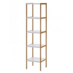 Estantería blanca de bambú con 5 baldas nórdica para cuarto de baño Basic