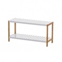 Estantería blanca de bambú con 2 baldas nórdica para cuarto de baño Basic
