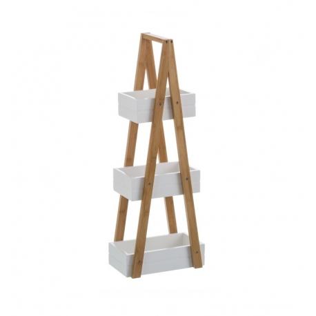 Estantería blanca de bambú con 3 cestas nórdica para cuarto de baño Basic