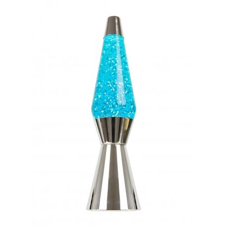 Lampara de Lava Cromada 40cm liquido Azul magma Purpurina de Estrellas. Metal y Cristal