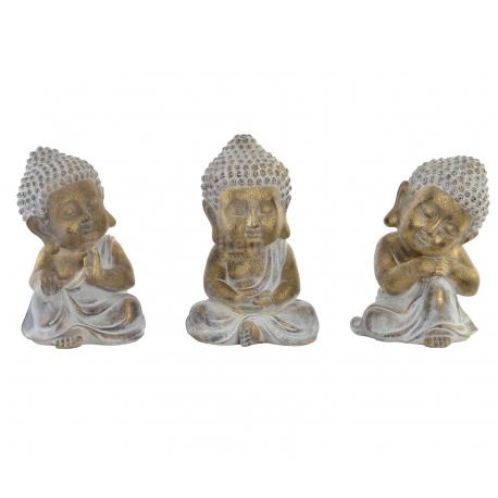 Set 3 figura buda de suerte resina decoracion