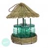 Juego de 4 jarras con pajita cristal verde en palapa color