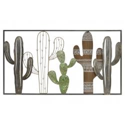 Mural decoracion cactus de metal 90x2x50 cm