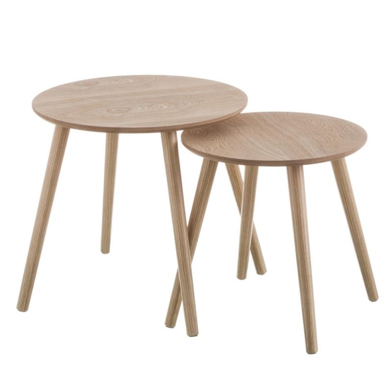 Mesitas auxiliares blancas de madera para sal n nordico - Mesitas auxiliares salon ...