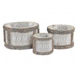 Set 3 maceta de madera trenzado Home