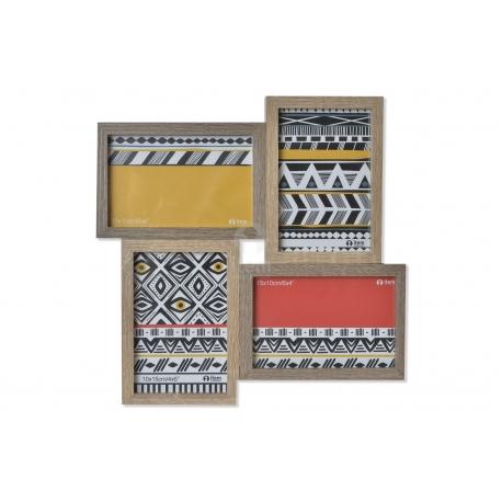 Portafotos multiple africano para 4 fotos de madera