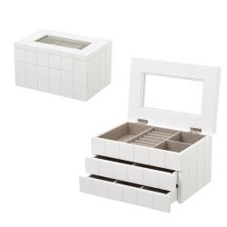 Joyero de madera con 2 cajones blanco moderno para dormitorio Fantasy