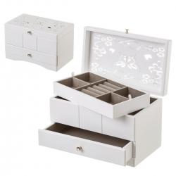 Joyero con bandeja de madera blanco provenzal para dormitorio Vitta