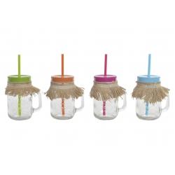 Set 4 jarras con pajita hawai colores surtido